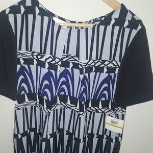 💥Donna Morgan Blue print short sleeve silk dress.